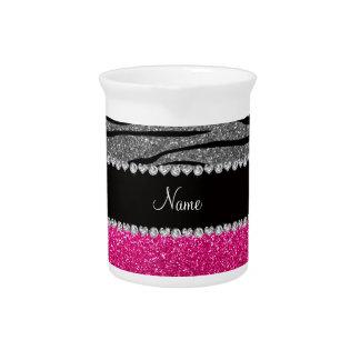 Rayas grises claras de la cebra del brillo rosado  jarra