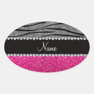 Rayas grises claras de la cebra del brillo rosado calcomania ovaladas personalizadas