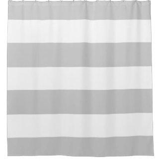 Rayas grises claras y blancas elegantes y con cortina de baño