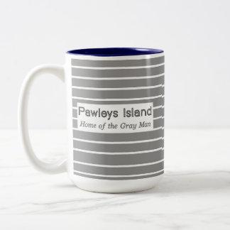 Rayas grises del hombre de la isla de Pawleys Taza De Café De Dos Colores