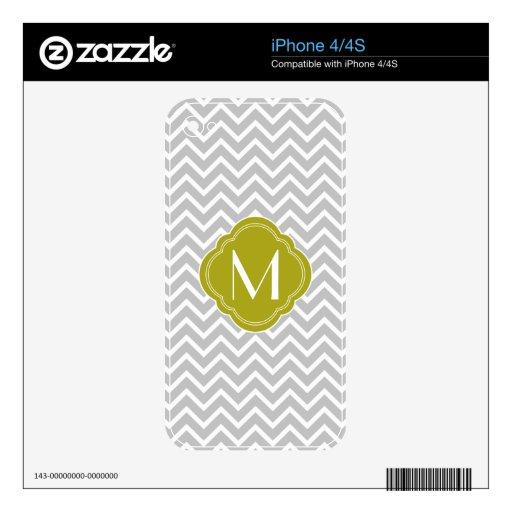 Rayas grises del zigzag de Chevron con el monogram iPhone 4 Calcomanías