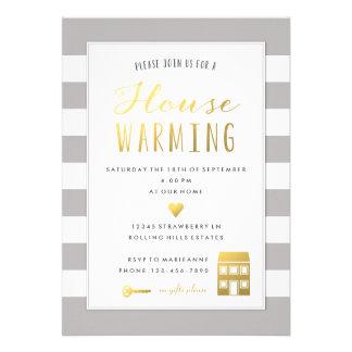 Rayas grises - invitación del fiesta de la casa
