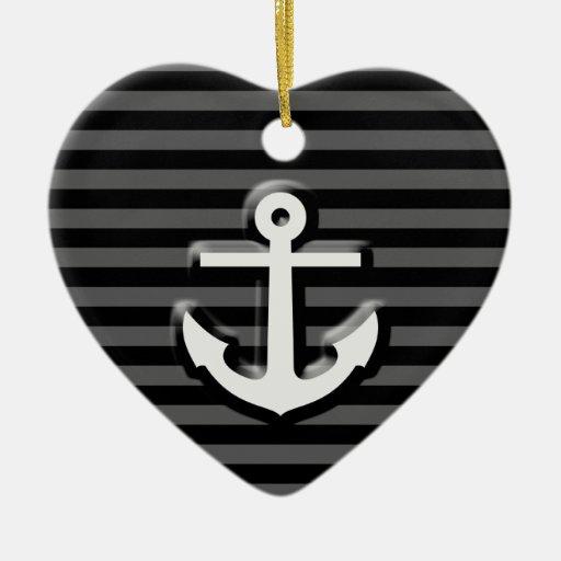 Rayas grises negras del ancla del marinero adorno de cerámica en forma de corazón
