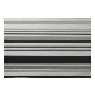 Rayas grises negras Placemats de los modelos del v Manteles