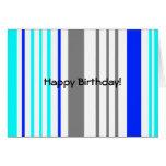 Rayas grises y azules blancas modernas felicitación