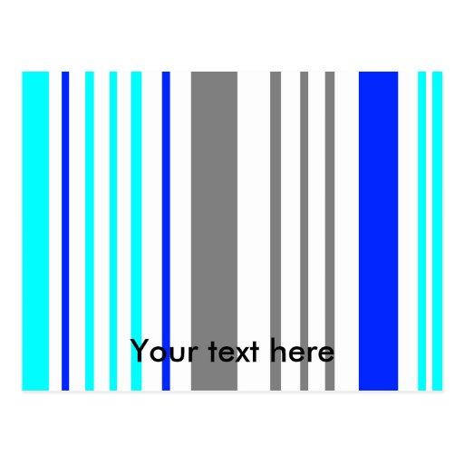 Rayas grises y azules blancas modernas tarjetas postales