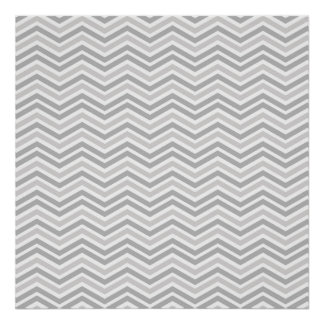 Rayas grises y blancas del tono dos de Chevron Poster