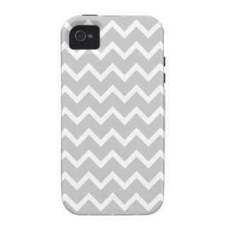 Rayas grises y blancas del zigzag Case-Mate iPhone 4 carcasas