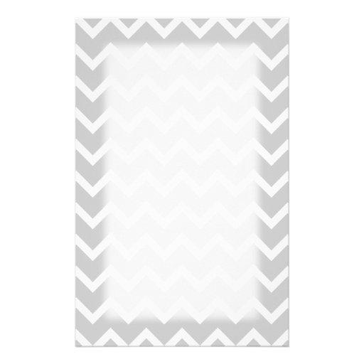 Rayas grises y blancas del zigzag papeleria personalizada