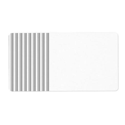 Rayas grises y blancas. Modelo Etiquetas De Envío