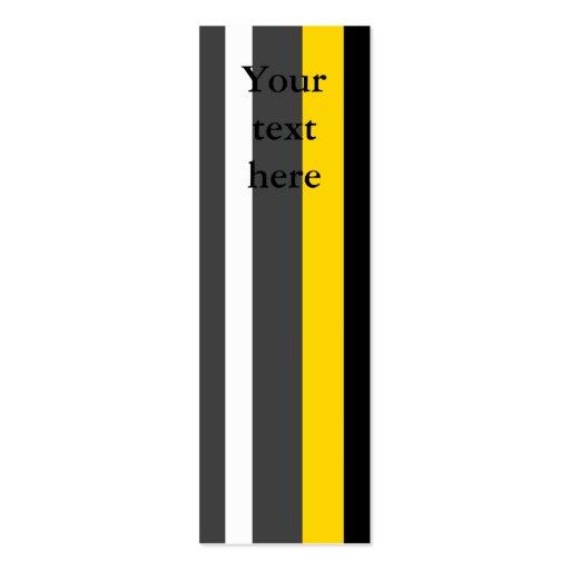 Rayas grises y blancas negras amarillas modernas tarjetas de visita mini