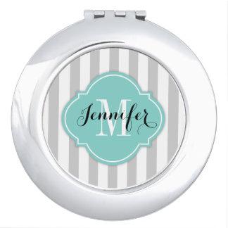 Rayas grises y blancas simples con el monograma espejo de maquillaje