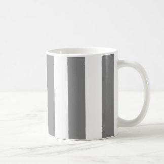 Rayas grises y blancas taza clásica