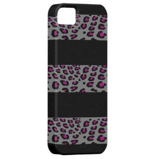 Rayas grises y rosadas del leopardo iPhone 5 carcasas