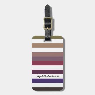 Rayas horizontales anchas púrpuras femeninas con etiquetas para equipaje
