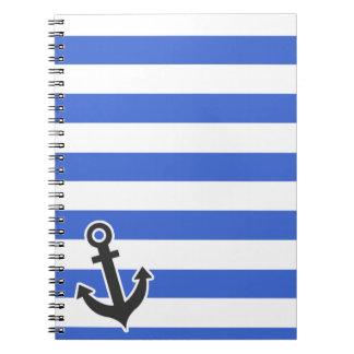 Rayas horizontales azules de Han; Ancla náutica Libretas