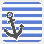 Rayas horizontales azules de Han; Ancla náutica Etiqueta