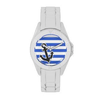 Rayas horizontales azules de Han; Ancla náutica Relojes De Mano