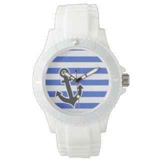 Rayas horizontales azules de Han; Ancla náutica Reloj De Mano