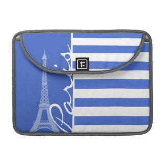 Rayas horizontales azules de Han; París Fundas Para Macbooks