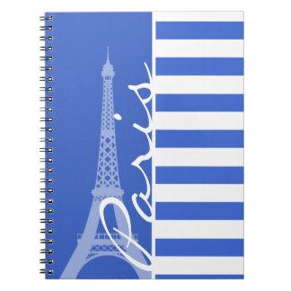 Rayas horizontales azules de Han; París Libreta Espiral