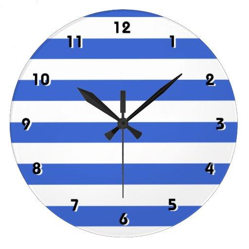 Rayas horizontales azules de Han Reloj Redondo Grande