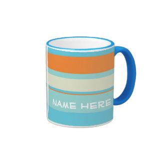 Rayas horizontales azules/naranja w/Name Tazas