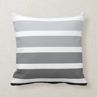 Rayas horizontales blancas negras grises de Ombre Cojín