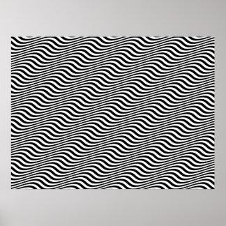 Rayas horizontales blancos y negros del seno del a posters