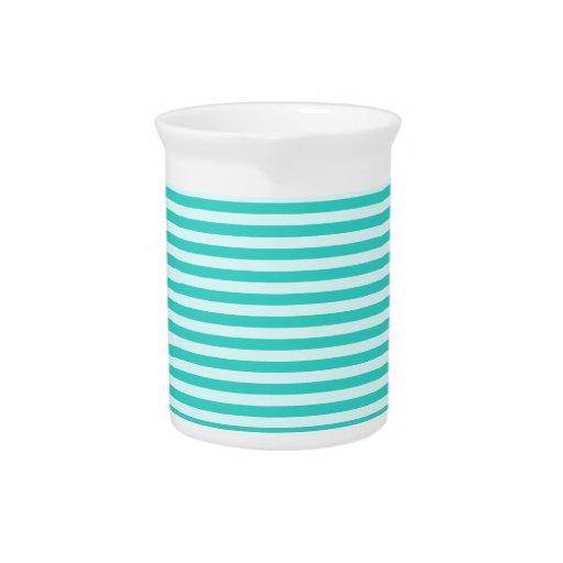 Rayas horizontales - ciánicas - Celeste y turquesa Jarras Para Bebida