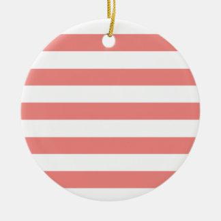 Rayas horizontales coralinas ligeras ornamento de navidad