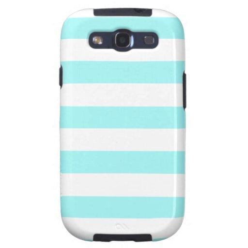 Rayas horizontales de Celeste; Rayado Samsung Galaxy S3 Carcasas