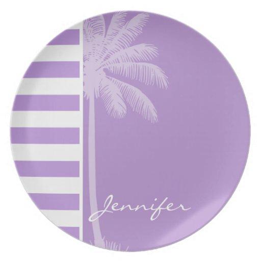 Rayas horizontales de la lavanda; Palma del verano Plato Para Fiesta