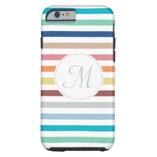 Rayas horizontales del arco iris en colores pastel funda de iPhone 6 tough