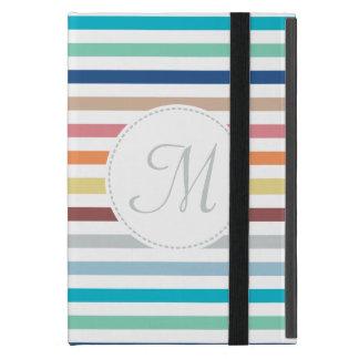 Rayas horizontales del arco iris en colores pastel iPad mini carcasa