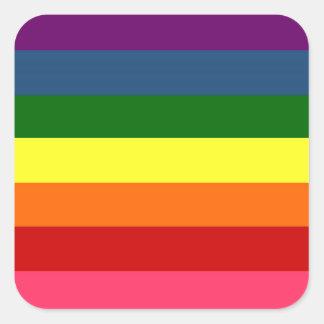 Rayas horizontales del arco iris pegatina cuadrada