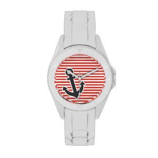 Rayas horizontales del color del cinabrio Rayado Relojes