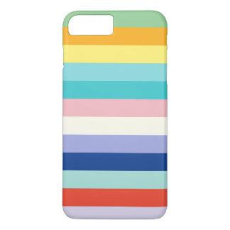 Rayas horizontales en colores de la primavera funda iPhone 7 plus