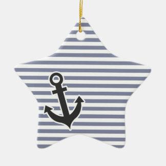 Rayas horizontales grises frescas; Ancla Ornamento Para Arbol De Navidad