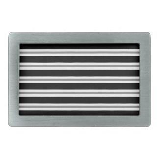 Rayas horizontales grises negras hebillas de cinturón rectangulares