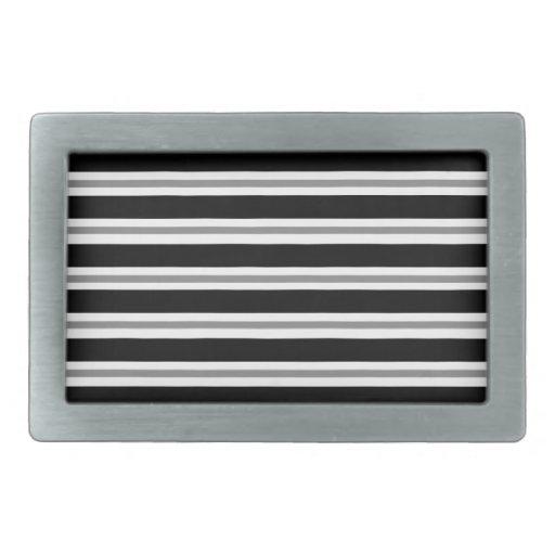 Rayas horizontales grises negras hebillas cinturon rectangulares