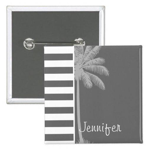 Rayas horizontales grises oscuros; Palma del veran Pin Cuadrada 5 Cm