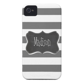 Rayas horizontales grises oscuros; Pizarra del Case-Mate iPhone 4 Protectores