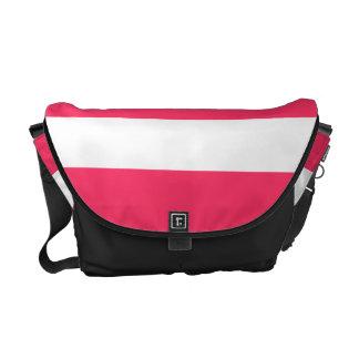 Rayas horizontales rosadas de la sandía bolsas de mensajeria