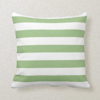 Rayas horizontales verdes del laurel almohadas