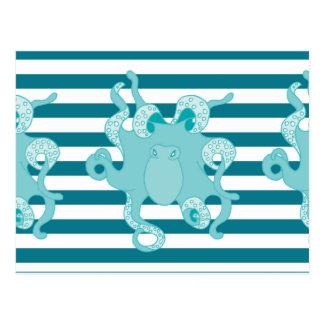 Rayas intrépidas azules del pulpo náutico tarjetas postales