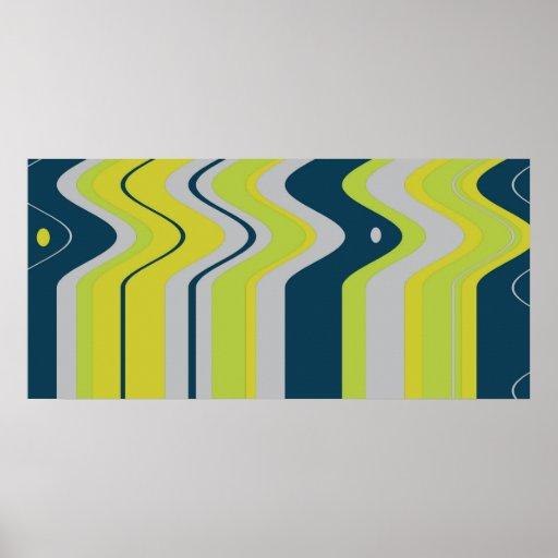 Rayas intrépidas de la onda en azul posters
