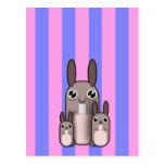Rayas lindas de la familia del conejo de conejito postales