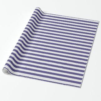 Rayas lindas de los azules marinos y del blanco papel de regalo