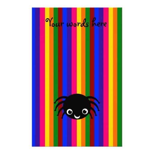 Rayas lindas del arco iris de la araña papeleria de diseño